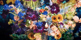 floral bouquets against fabrics