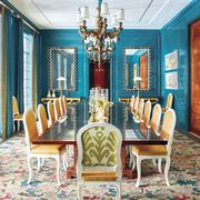 Dining room, Room, Furniture, Interior design, Property, Chair, Table, Yellow, Chandelier, Ceiling,