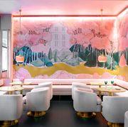 pink interior of mon square restaurant