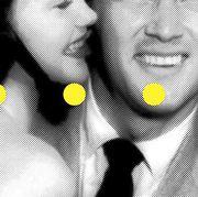 Black, Facial expression, Yellow, Black-and-white, Smile, Monochrome, Font, Design, Line, Illustration,