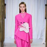 Fashion model, Clothing, Fashion, Pink, Haute couture, Runway, Dress, Fashion design, Day dress, Fashion show,
