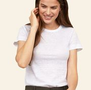 White, Face, Facial expression, T-shirt, Clothing, Shoulder, Neck, Skin, Sleeve, Top,