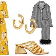 Clothing, Dress, Yellow, Day dress, Pattern, Costume design, Sleeve, Formal wear, Fashion design, Pattern,