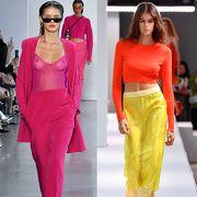 Fashion model, Clothing, Fashion, Yellow, Runway, Dress, Fashion show, Fashion design, Neck, Footwear,