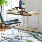 gold glass and wood desk and a wood desk