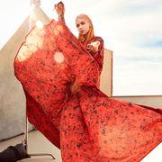 Clothing, Red, Orange, Fashion, Dress, Textile, Long hair, Fashion design, Fashion model, Silk,