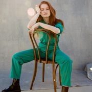 Clothing, Sitting, Green, Shoulder, Blue, Beauty, Fashion model, Fashion, Photo shoot, Long hair,