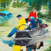 Painting, Watercolor paint, Modern art, Art, Illustration, Boating, Vehicle, Acrylic paint, Paint, Visual arts,