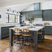 Countertop, Furniture, Room, Kitchen, Cabinetry, Property, Interior design, Wood flooring, Floor, Table,