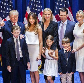 donald trump wife melania, children ivanka, don jr, eric, barron, and grandchildren