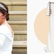 White, Clothing, Dress, Wedding dress, Bride, Headpiece, Pink, Hair accessory, Fashion accessory, Bridal clothing,