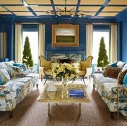 blue and yellow living room