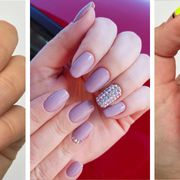 Nail polish, Nail, Manicure, Nail care, Cosmetics, Finger, Red, Pink, Material property, Service,
