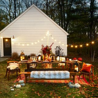 fall table decorated for a party