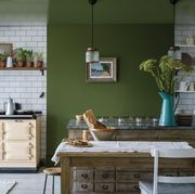 Furniture, Room, Green, Interior design, Table, Kitchen, Turquoise, House, Cabinetry, Wall,