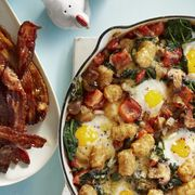 egg and tater bake with sweet and spicy glazed bacon breakfast, brunch