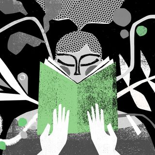 illustration of a person holding the book of plants