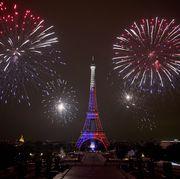 bastille day fireworks at the eiffel tower in paris