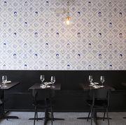 Wall, Room, Tile, Wallpaper, Property, Ceiling, Lighting, Interior design, Floor, Table,