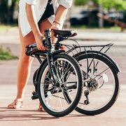 woman using folding bike
