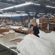 factory with white fabric on table