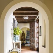 Ceiling, Arch, Room, Property, Building, Interior design, Yellow, Architecture, Home, Floor,