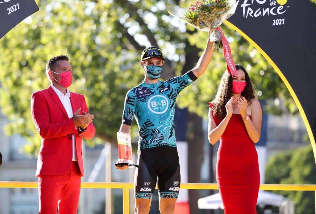 Franck Bonnamour celebrates winning the Most Combative Rider of the 2021 Tour de France.