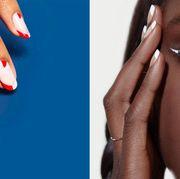 Face, Nail, Skin, Blue, Nail polish, Eyebrow, Beauty, Red, Nail care, Nose,