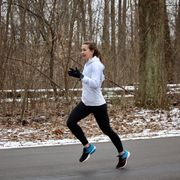 White, Running, Recreation, Outdoor recreation, Sports, Footwear, Individual sports, Winter, Tree, Exercise,
