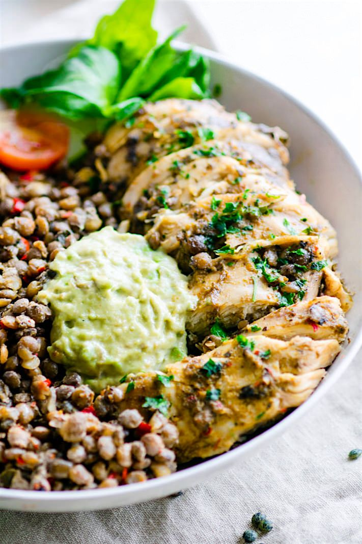 Simple Garlicky Green Crock-Pot Chicken and Lentils