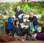 great british baking show l to r prue leith, noel fielding, matt lucas, and paul hollywood in collection 8 of great british baking show cr mark bourdillonnetflix © 2021