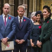 london, england   november 11 prince william, duke of cambridge and catherine, duchess of cambridge, prince harry, duke of sussex and meghan, duchess of sussex attend a service marking the centenary of ww1 armistice at westminster abbey on november 11, 2018 in london, england the armistice ending the first world war between the allies and germany was signed at compiègne, france on eleventh hour of the eleventh day of the eleventh month   11am on the 11th november 1918 this day is commemorated as remembrance day with special attention being paid for this year's centenary  photo by paul grover  wpa poolgetty images