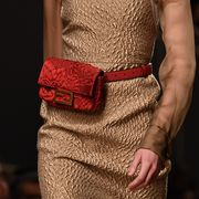 Fashion, Red, Runway, Fashion show, Haute couture, Belt, Fashion model, Hand, Dress, Fashion accessory,