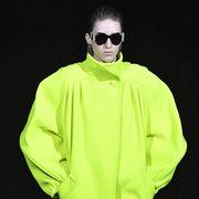 Clothing, Outerwear, Green, Jacket, Yellow, Sleeve, Raincoat, Windbreaker, Workwear, Coat,