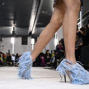 Fashion, Footwear, Runway, Fashion show, Fashion model, Leg, Human leg, Shoe, High heels, Event,