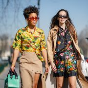 Fashion model, Fashion, Street fashion, Runway, Fashion show, Yellow, Eyewear, Spring, Fashion design, Sunglasses,