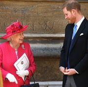 windsor, england   may 18 queen elizabeth ii speaks with prince harry, duke of sussex as they leave after the wedding of lady gabriella windsor to thomas kingston at st georges chapel, windsor castle on may 18, 2019 in windsor, england photo by steve parsons   wpa poolgetty images