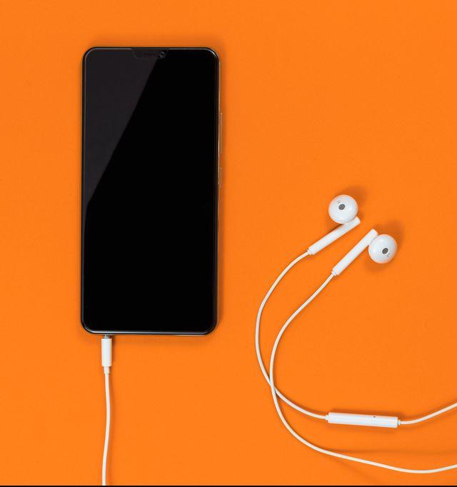 phone, headphones