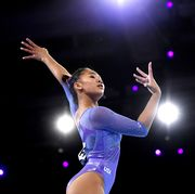 stuttgart, germany   october 13 sunisa lee of the united states competes in womens floor final during day 10 of the 49th fig artistic gymnastics world championships at hanns martin schleyer halle on october 13, 2019 in stuttgart, germany photo by laurence griffithsgetty images