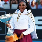 serena williams of the us poses with her trophy after winning against jessica pegula of the us during their womens singles final match during the auckland classic tennis tournament in auckland on january 12, 2020 photo by michael bradley  afp photo by michael bradleyafp via getty images