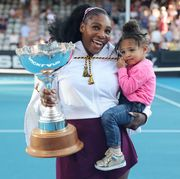 serena williams of the us with her daughter alexis olympia after her win against jessica pegula of the us during their womens singles final match during the auckland classic tennis tournament in auckland on january 12, 2020 photo by michael bradley  afp photo by michael bradleyafp via getty images