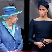 london, united kingdom   july 10 embargoed for publication in uk newspapers until 24 hours after create date and time queen elizabeth ii, meghan, duchess of sussex and prince harry, duke of sussex watch a flypast to mark the centenary of the royal air force from the balcony of buckingham palace on july 10, 2018 in london, england the 100th birthday of the raf, which was founded on on 1 april 1918, was marked with a centenary parade with the presentation of a new queens colour and flypast of 100 aircraft over buckingham palace photo by max mumbyindigogetty images