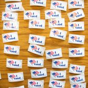 topshot   i voted stickers cover a table at a polling station during the north carolina primary on super tuesday in charlotte, north carolina on march 3, 2020   forteen states and american samoa are holding presidential primary elections, with over 1400 delegates at stake americans vote tuesday in primaries that play a major role in who will challenge donald trump for the presidency, a day after key endorsements dramatically boosted joe bidens hopes against surging leftist bernie sanders the backing of biden by three of his ex rivals marked an unprecedented turn in a fractured, often bitter campaign photo by logan cyrus  afp photo by logan cyrusafp via getty images