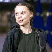 brussels, belgium   march 05  swedish environmental activist on climate change greta thunberg is talking to media as she arrives for an eu environment council at the europa, the european council headquarter, on march 5, 2020, in brussels, belgium photo by thierry monassegetty images