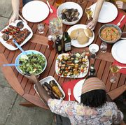 eating at a table good food amazing and delicious