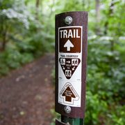 lower alsace township, pa   june 22 a trail marker that reads trail with an arrow, a graphic that reads trail courtesy with a graphic instructing people on bicycles to yield to runners and hikers, and runners to yield to hikers, then an arrow with the text protect your privilege, stay on the trail in the neversink mounatin preserve in lower alsace township tuesday afternoon june 22, 2021 photo by ben hastymedianews groupreading eagle via getty images