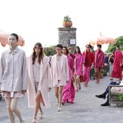 ischia, italy   june 29 models walk the runway at the max mara resort 2022 collection show on june 29, 2021 in ischia, italy photo by vittorio zunino celottogetty images