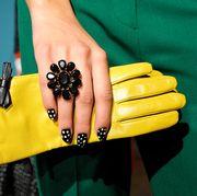 Green, Yellow, Black, Nail, Wrist, Hand, Finger, Fashion, Street fashion, Fashion accessory,