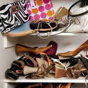 Footwear, Shoe, Closet, Room, Shoe store, High heels, Athletic shoe, Shoe organizer, Collection, Shelf,