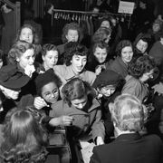 shoppers crowd round the stocking counter in a department store in london during the january sales, keen to make a purchase  original publication picture post   4966   women into action   pub 1950   photo by picture posthulton archivegetty images